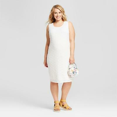 cf45fc4bd3264 Target Ingrid & Isabel Maternity Off WHITE Sleeveless Lace Tank Dress ...