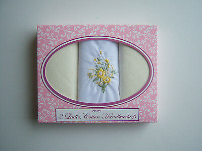 New Ladies Women Cotton Handkerchiefs Lemon Hankies Boxed Box Embroidered Pack 3