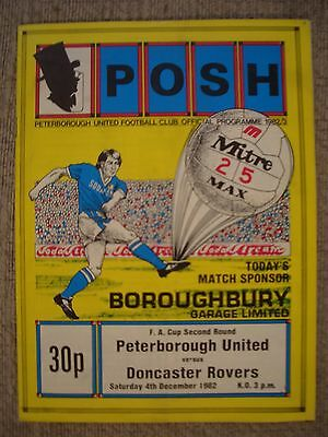 1982...PETERBOROUGH UTD v DONCASTER ROVERS....F.A.Cup 2nd rd..Football Programme