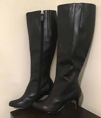 dd801d3f155 NEW Siren Ladies Knee High Boots Size 6 1 2 Black Leather Stiletto Heel Zip