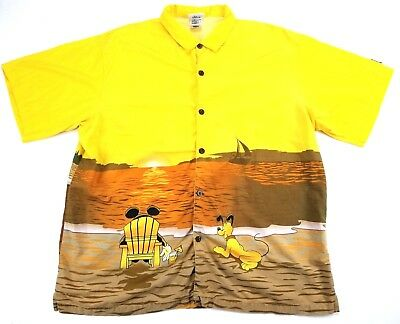 0bd59cb98 Walt Disney World Xxl Hang Loose 1971 Yellow Hawaiian Shirt Mickey