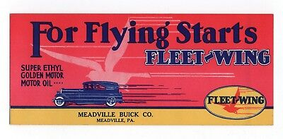 "FLEET-WING CORP. Ink Blotter - 3¾""x9"", c1930, Meadville PA Buick Co., Great Cond"