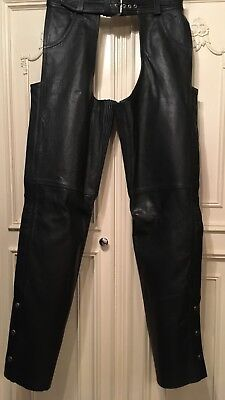 Excelled New York, NY Women's Black Leather Chaps Size 10