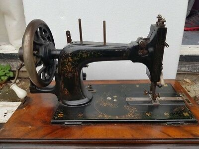 RARE!! VINTAGE Frister Rossmann BERLIN Sewing Machine Approx 1880s - Wooden Case