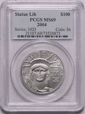 PCGS graded 2004 1 Ounce Platinum Eagle MS69 US 1 Ounce Coin, Free shipping!