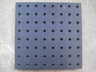 "Black Anodized Aluminum Breadboard - 8""x8"" plate -1/2"" thick 1/4-20 holes on 1"""