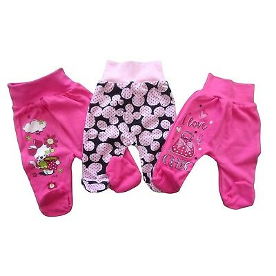 NEWBORN Baby Infant Lovely Girls Trousers with feet 100% Cotton BNWT