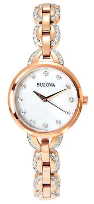 Bulova Women's Crystal Mother Of Pearl Dial Gold Tone Stainless Steel Watch 98L2