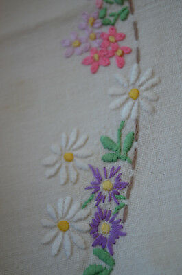 Stunning Vintage Serving Tray Cloth Runner Hand Embroidered - Pretty Linen Lace