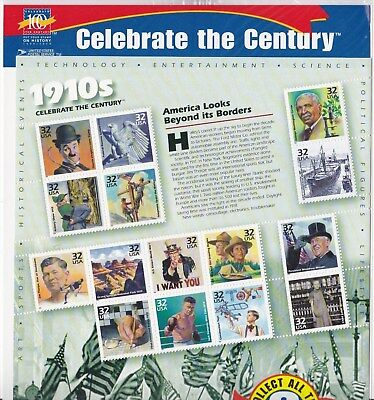 Us Scott #3183 1998 32 Cents Celebrate The Century/1910's 15 Stamp  Sheet Mnh