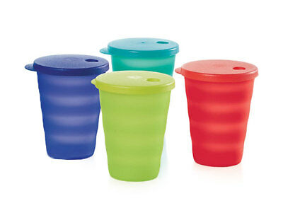 Tupperware Regular 11oz Impressions Tumblers Cups 4-piece Set with Seals - NEW!