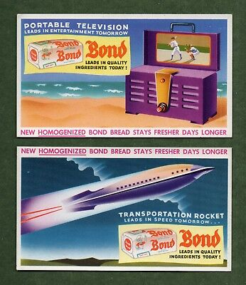 2 BOND BREAD Ink Blotters - 1940's Visions of Portable TV, Rocket Transport, NM