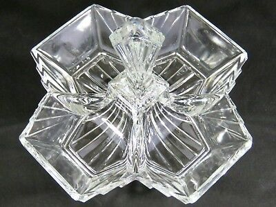 Vtg Indiana Glass PYRAMID 4 Part Divided Relish Condiment Art Deco Crystal Tray