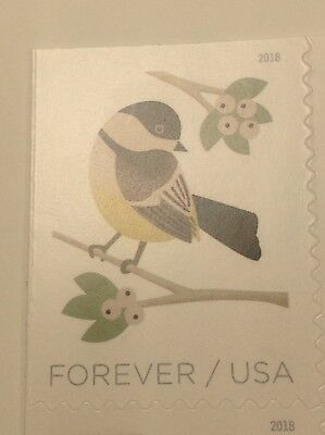 1 Single New USPS Forever One Ounce Postage Stamp - Chickadee Bird - Christmas