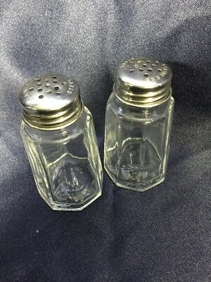 "Vintage Salt Pepper Shakers - Gemco - Clear Glass Stainless Top - 3"" Tall Retro"