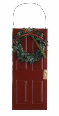 Red Door With Wreath Glitter Christmas Ornaments Set Of 2 New Home