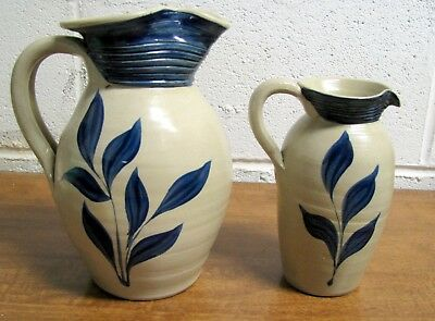 """Two (2) Williamsburg Pottery Pitchers 7 1/2"""" & 6"""" High Marked Grey & Blue"""