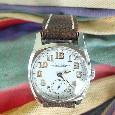 Longines 1938 BIG Square S/S Case;ULTRA RARE & Perfect White Porcelain Dial !!