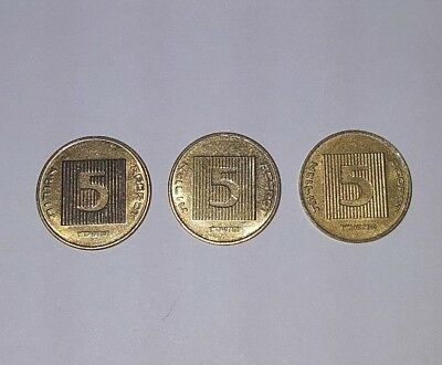 Lot of 3 Israeli 5 Agorot coin Israel old money rare coin for collectors UNC