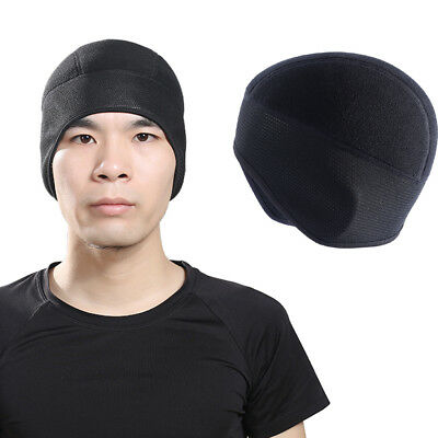 Windproof Men Fleece Winter Outdoor Beanie Hat Cycling Running Black Ear Warm