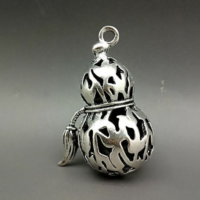 Collectable Tibet Silver Hand Carved Gourd Model Pendant