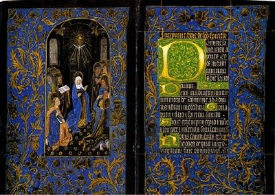 Descent Of The Holy Spirit -Black Hours- Gold Accents Illuminated Manuscript New