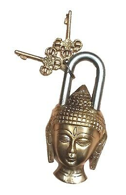 Buddha Budha Shape Vintage Antique Style Handmade Brass Door Lock Padlock & Keys