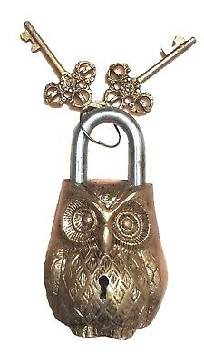 Owl Engraved Door Lock Antique Vintage Finish Handmade Brass Padlock With Keys