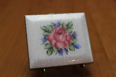 Vintage Powder Compact White Guilloche Enamel with Pink Rose Possibly Marhill