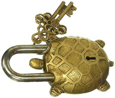 Turtle Shape Vintage Antique Style Handmade Brass Padlock & Keys Tortoise Lock