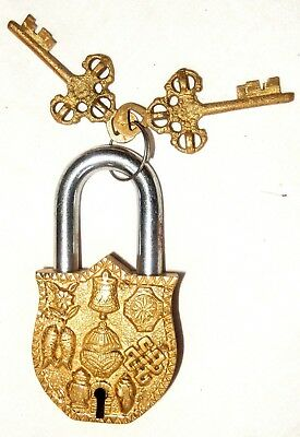 Tibetan Padlock Vintage Antique Finish Handmade Brass Lock with Keys Home Decor