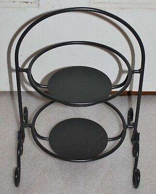 Longaberger Wrought Iron Stand Small Two Pie Holder Original Metal Works Nice