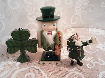 Mini Leprechaun Nutcracker; Mini Irish Santa Ornament and Shamrock Ornament GUC