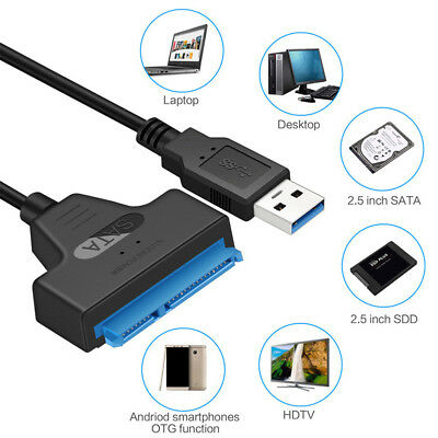 USB 3.0 to 2.5 inch SATA III Hard Drive Adapter Cable UASP to USB Converter C7W2