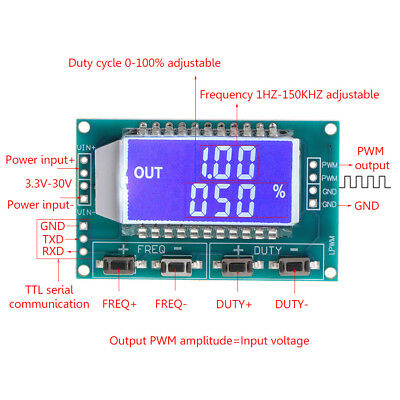 PWM Pulse Frequency Duty Cycle Adjustable Module Signal Generator LCD Display