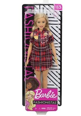 NEW! Barbie Fashionistas Doll #113 new IN BOX 2018 2019 Emerald Eyes Plaid Dress
