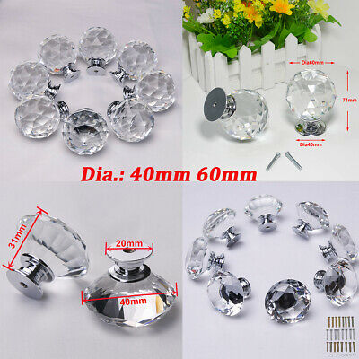 40mm/60mm Clear K9 Crystal Door Knobs Drawer Kitchen Cabinet Furniture Handles