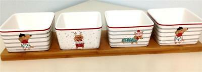 Christmas Dachshund 4 Square Bowls on Bamboo Tray Dip Snacks Serving Table Decor