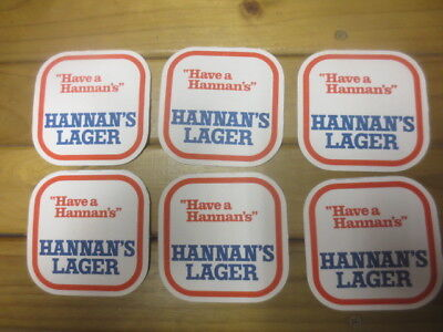 6 in new condition HANNANS LAGER  / BREWERY 1970,s Issue, COASTERS collectable