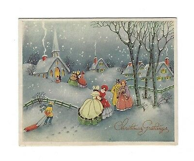 1944 vintage christmas new year card snow town scottish terrier scottie dog seal