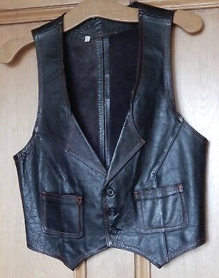 True Vintage Man's Fitted Black Leather Waist Coat Small Size