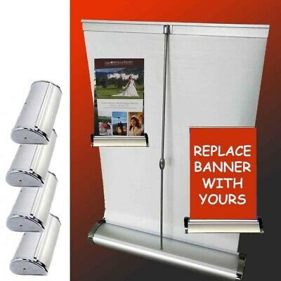 LOT of 4 Mini Table Top Retractable Tradeshow Display Banner Stand A3 11.5x16.5
