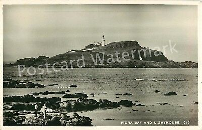 East Lothian Fidra Bay And Lighthouse Real Photo