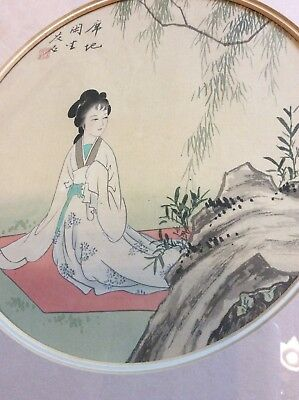 Chinese / Japanese Hand Painted Silk Picture Geisha Girl Framed  No.1