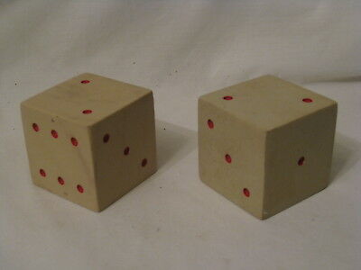 """2 jumbo vintage marble dice 2.25"""" solid stone rock large pair 57mm giant heavy"""