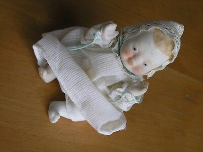 """Vintage Antique Made In Japan Bisque Baby Doll Articulated Head Hands Legs 5"""""""