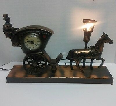Vintage United Metal Goods Hansom Cab Horse & Carriage Clock Model 701