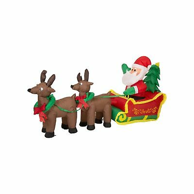 Glitzhome Christmas Outdoor Lighted Inflatable Decor (Santa Sleigh)