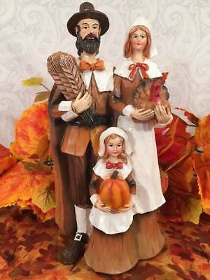 "NEW Autumn Thanksgiving Resin 10"" Pilgrim Family Figurine Statue Table Top Decor"