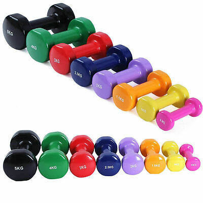 Vinyl Dumbbell Pair Solid Aerobic Training Weights Strength Home Dumbbells Gym